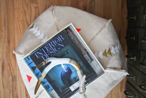 DIY Painted Pouf by Camille Styles
