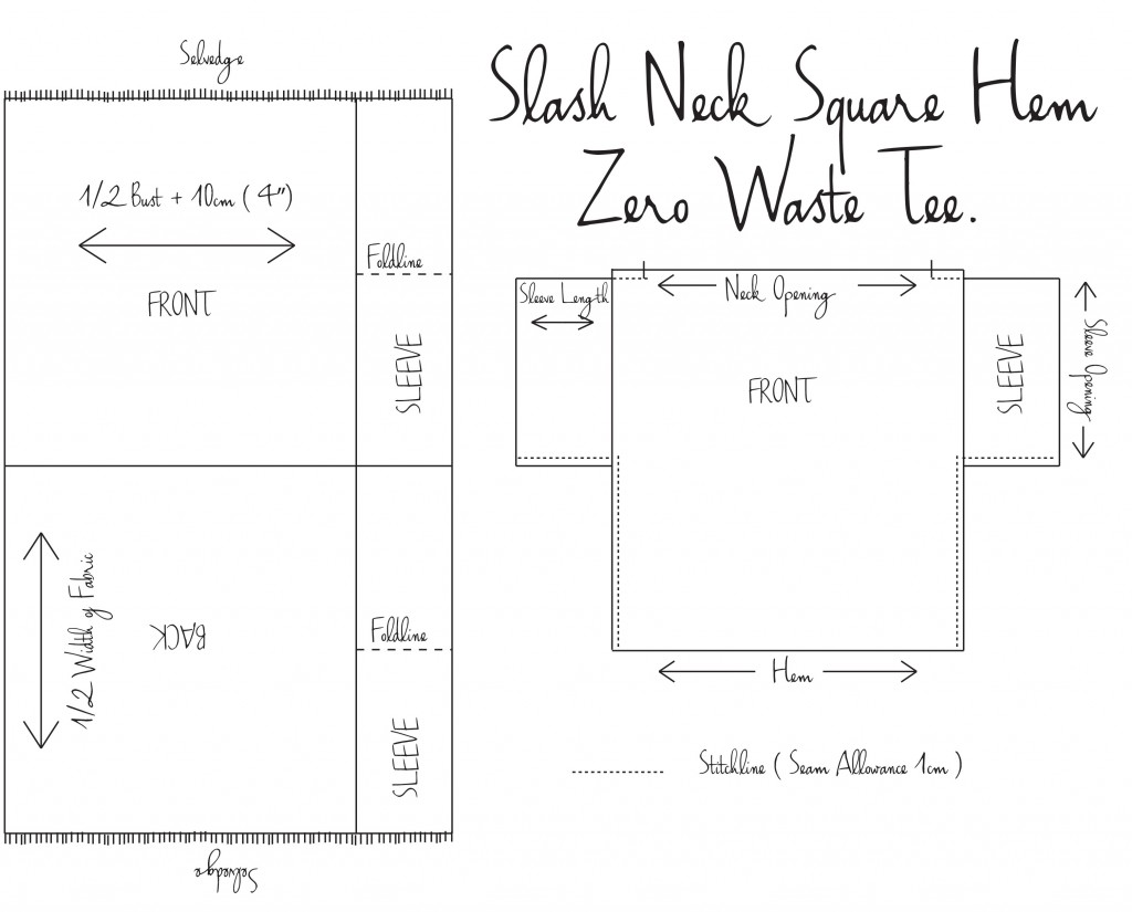 Slash-Neck-Square-Hem.-Zero-Waste-Tee