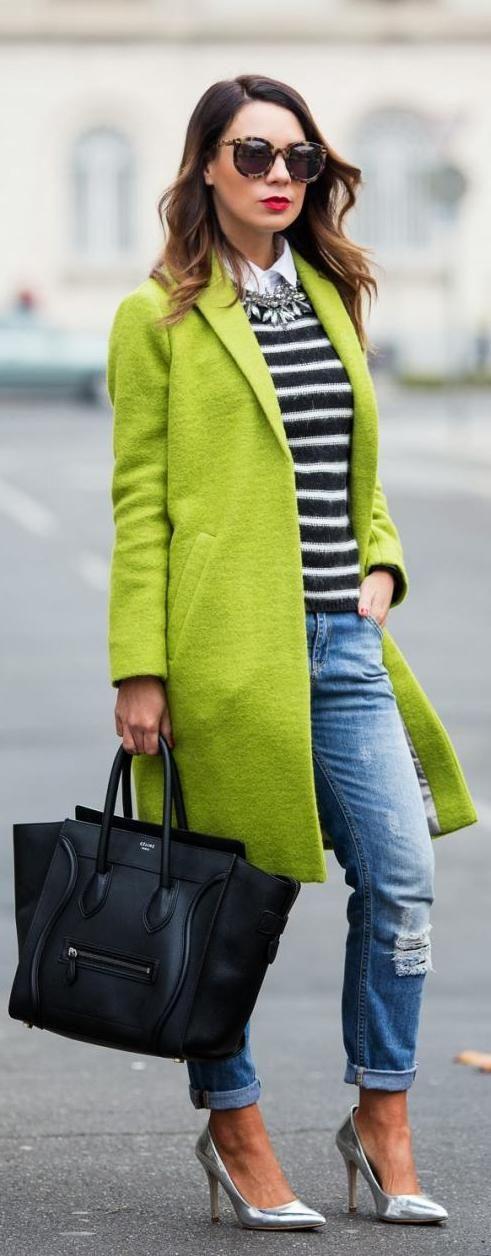 Long lime green coat