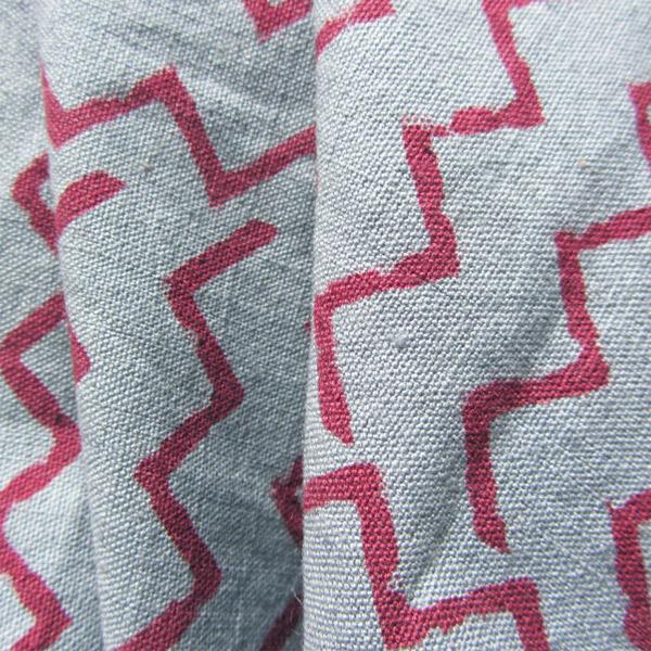 Zig Zag Blue Organic Cambric