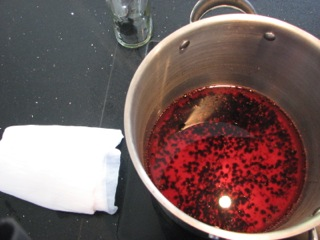 Elderberries in a dye bath ready for fibre
