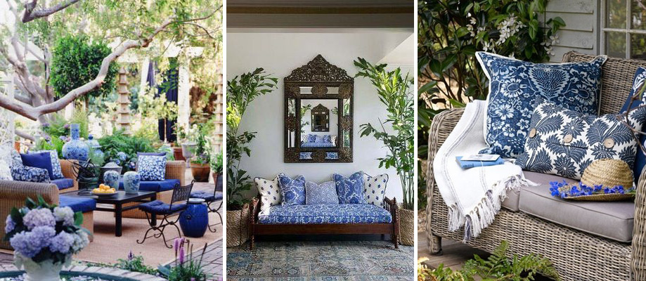 Gorgeous examples of how to use blue and white floral prints inside and out