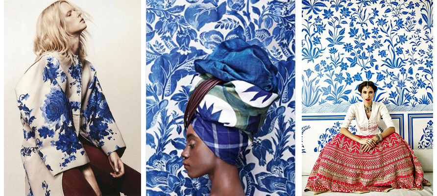 Left, Valentino Blue & White Flower Jacket AW 2012-2013. Centre, Photoshoot from Olga Volkova Tuponogova from Architectural Digest. Right, Anita Dongre Pinkcity from Vogue Wedding India.
