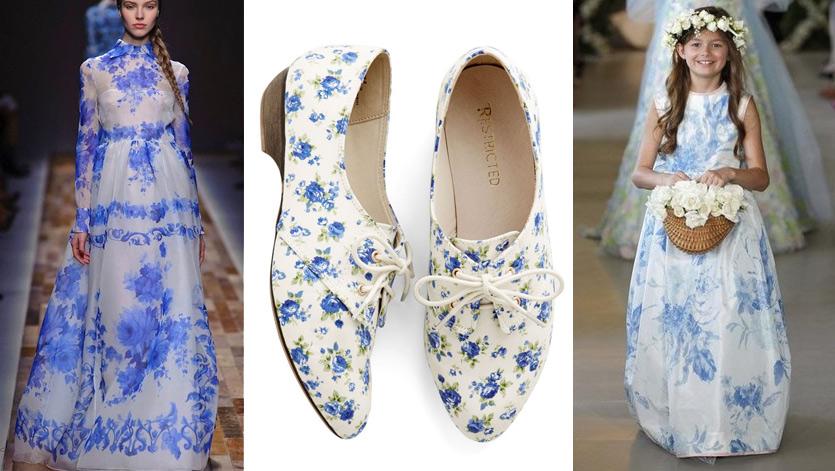 (Left) Valentino A/W 2013. (Centre) Floral print shoes from Modcloth. (Right) Oscar De La Renta Bridal 2013.