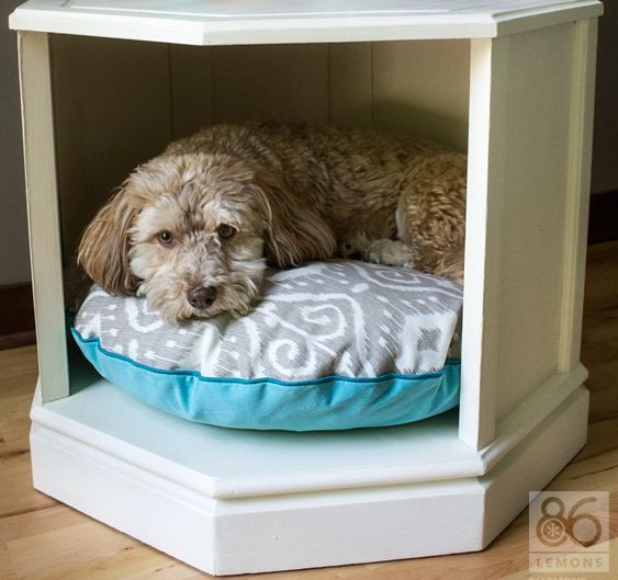 Upcycled Side Table Into Dog Bed