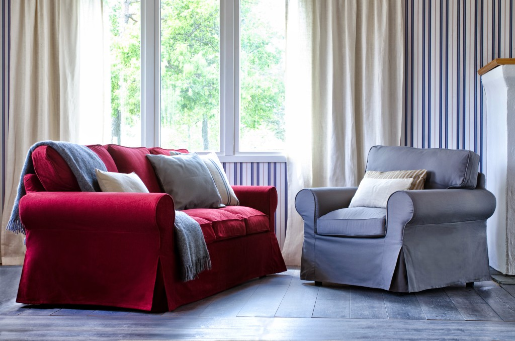 Eco friendly coverings Bemz cover for Ektorp 3 seater sofa, fabric: Burgundy Red Chenille. Bemz cover for Ektorp armchair, fabric: Zinc Grey Panama Cotton. Along with various custom cushion covers. Image courtesy of Bemz.