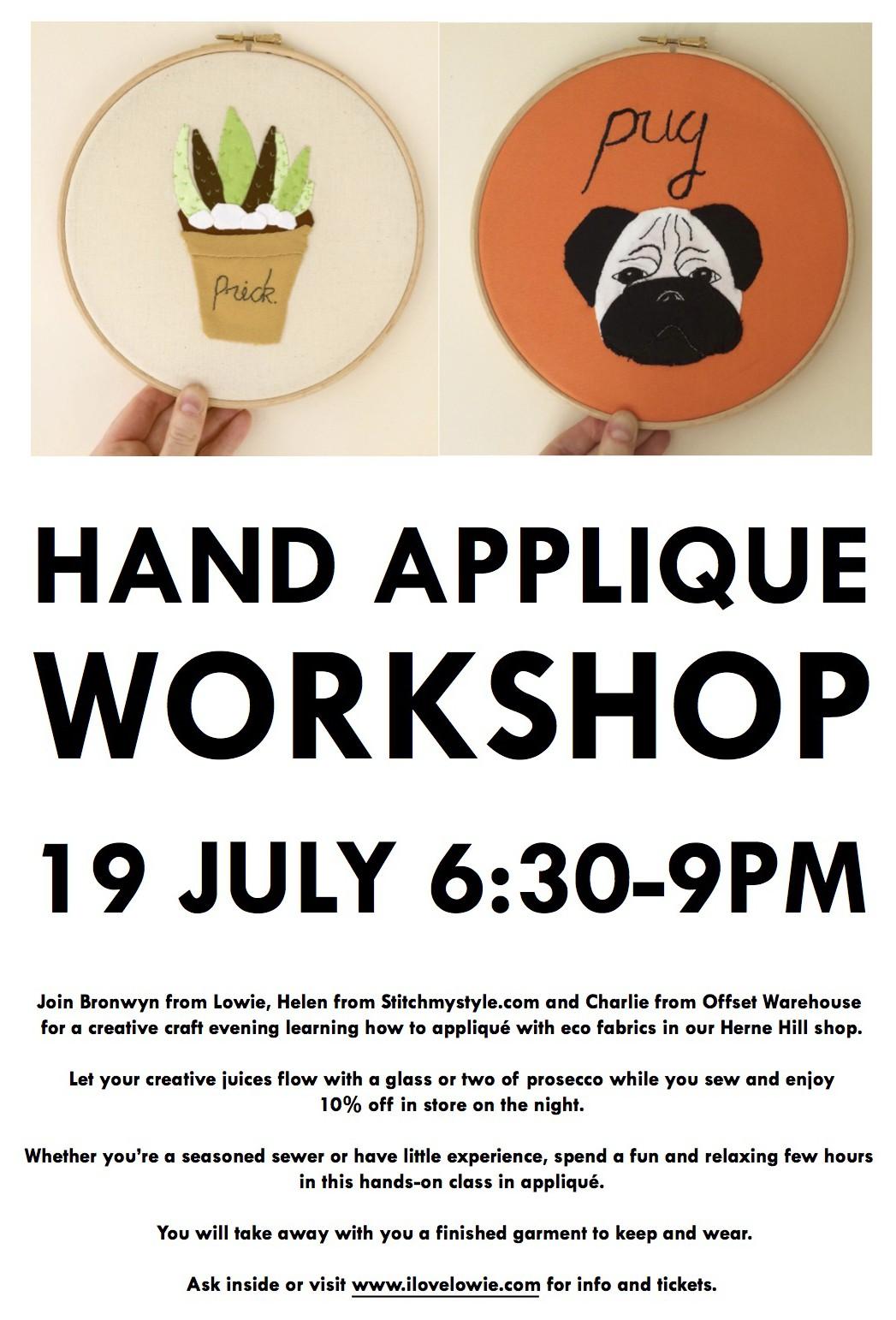 applique workshop poster